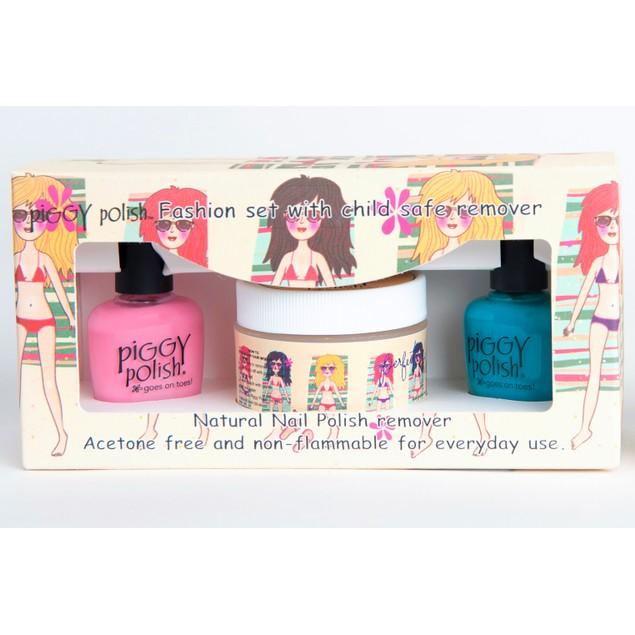Blue, Pink Polish + Scratch Sugar Scrub Nail Polish Remover- 3pc Kit