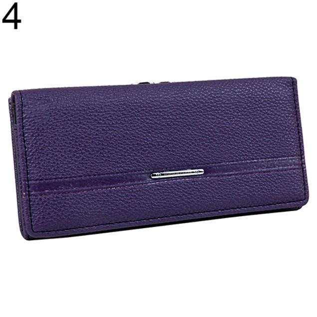 Women Mustache Hasp Snap Faux Leather Long Purse Bag Wallet Card Holder