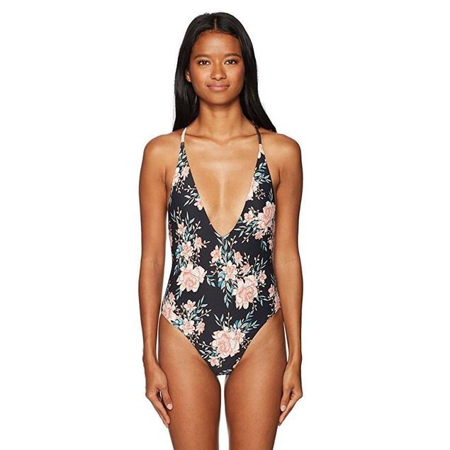 Billabong Women's Let It Bloom One Piece Swimsuit, Black Sands, L