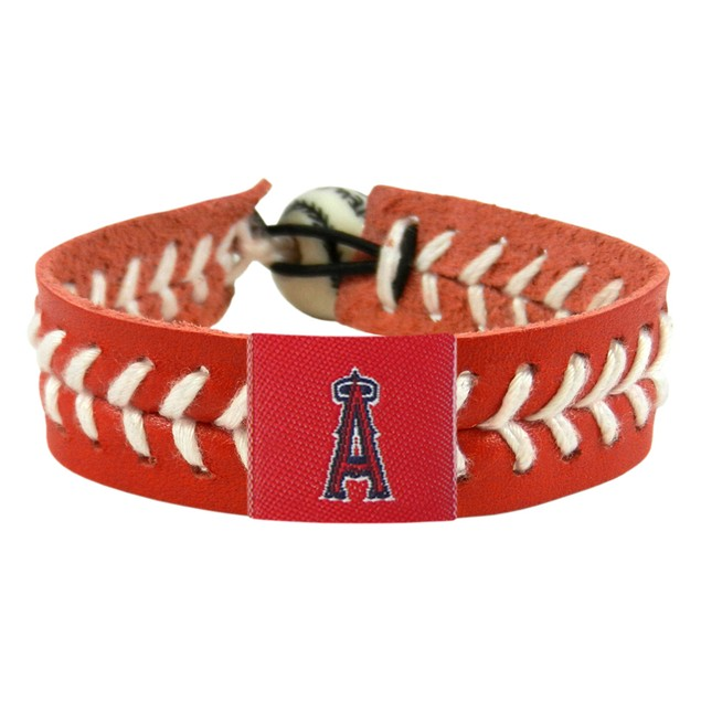 Los Angeles Angels Team Color Baseball Bracelet MLB LAA Leather Stitch