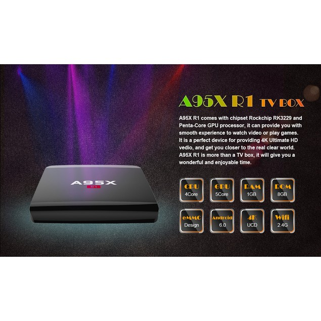 A95X R1 Rockchip RK3229 Quad-core Android 5.1 Smart TV Box 1GB 8GB