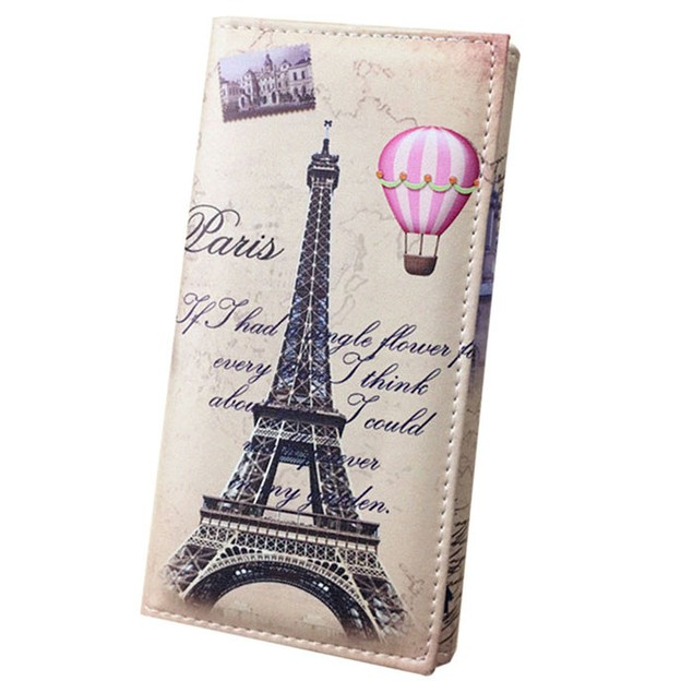 Women Long Wallet Smooth PU leather Paris Flags Eiffel Tower Style Wallets