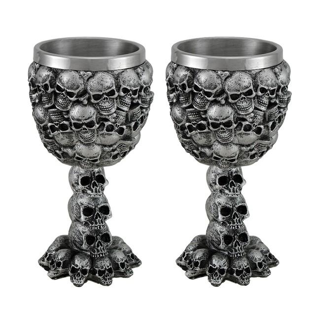 Set Of 2 Skull Covered Drinking Goblets Goblets
