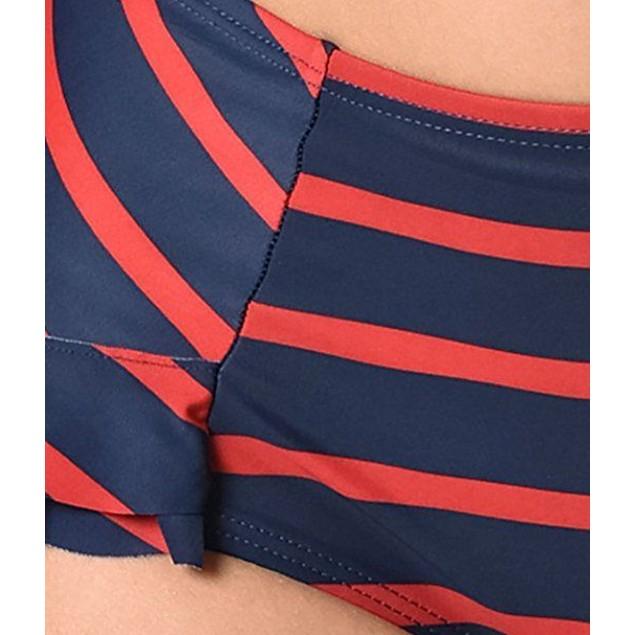 Unique Vintage Navy Blue & Red Striped Ruffle Ella Swim BOTTOMS ONLY S