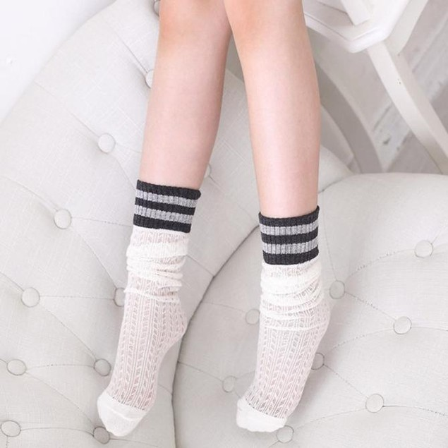 Children Kids Elasticity Preppy Style Stripe Knee High Socks Cute Socks