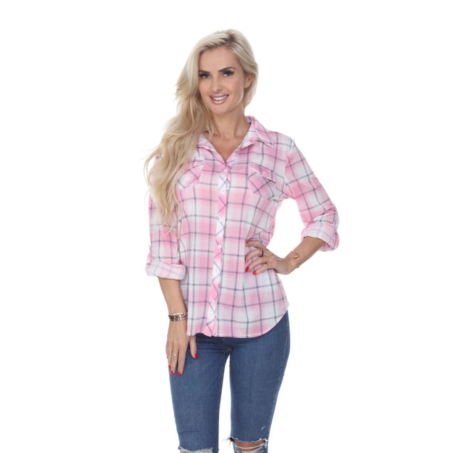 White Mark Women's Buttery Soft Plaid Top - 11 Colors