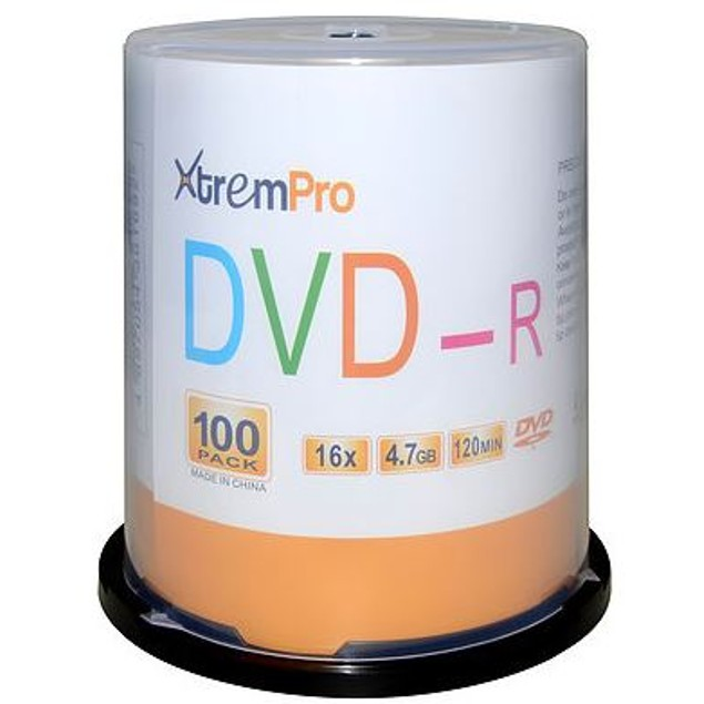 DVD-R 16X 4.7GB 120 Min DVD 100 Pack Blank Discs in Spindle Ready to Use