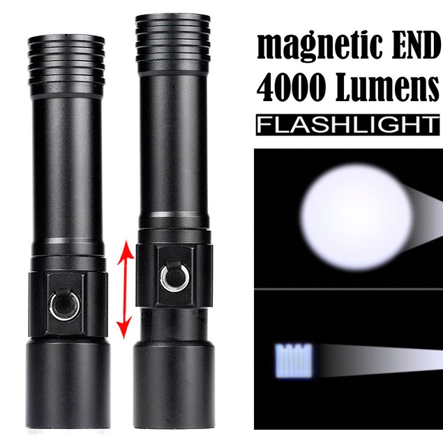 Zoomable Magnetic END Flashlight Waterproof Torch Light Lamp 18650