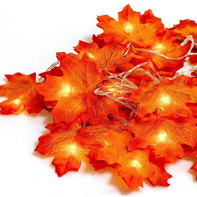 40 LED Maple Leaves Indoor/Outdoor Garland String Lights