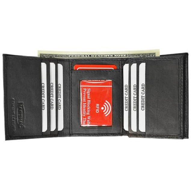 RFID Blocking Men's Leather Classic Trifold Wallet
