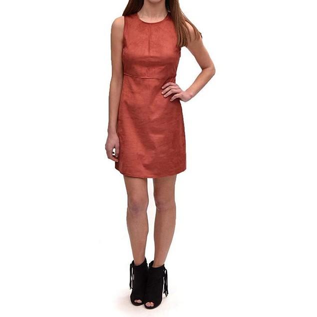 Only Women's Frankie Faux Suede Dress Marsala Dress  SZ 34