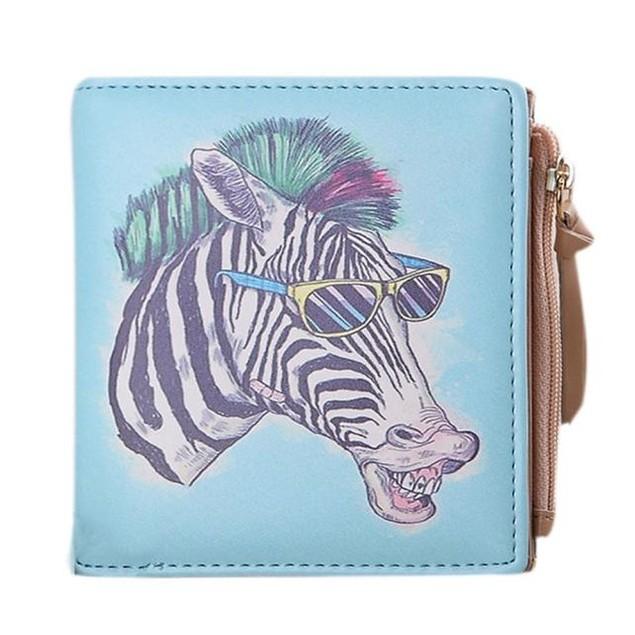 Women Vintage Zebra Coin Clip Purse Short Wallet Clutch Handbag