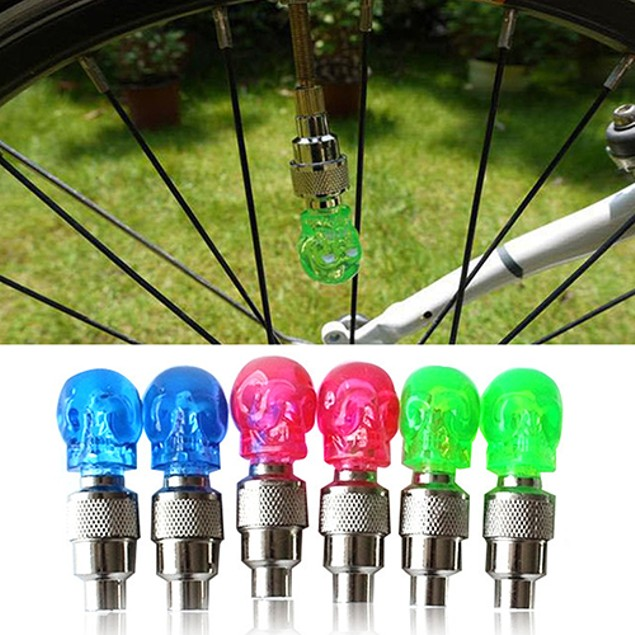 2 Pcs Creative Skull Design LED Light Bicycle Tire Wheel Valve Cap Warning