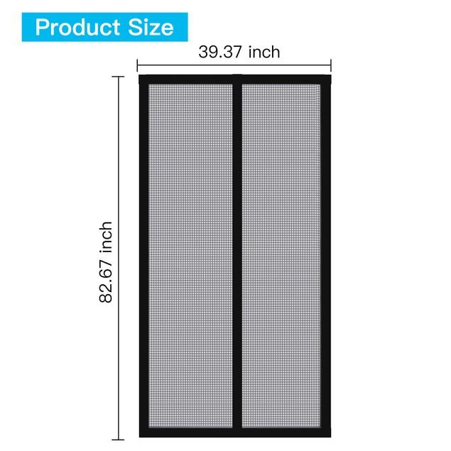 Magnetic Screen Door with Durable Fiberglass Mesh Curtain - Black