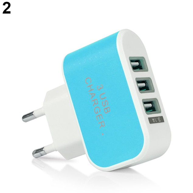 Triple USB 3 Port Wall Home Travel AC Charger Adapter