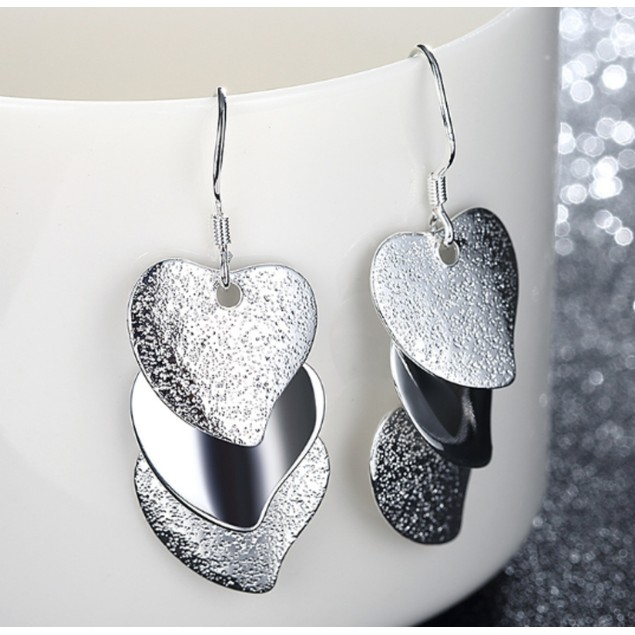 18kt White Gold Plated Triple Stacked Heart Earrings
