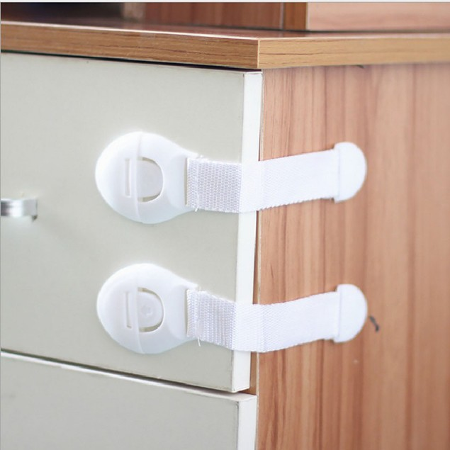 2Pcs Baby Adhesive Safety Lock For Cabinet Door Drawers Refrigerator