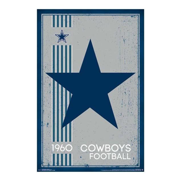Dallas Cowboys Retro Logo Poster 24x36 Texas NFL Football Silver Blue