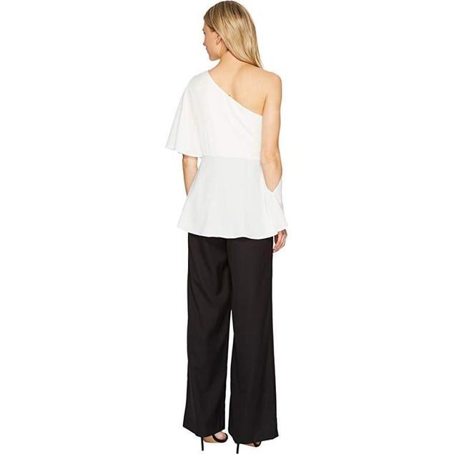 Sangria Women's One Shoulder Color Blocked Jumpsuit Black/Ivory Sz 10
