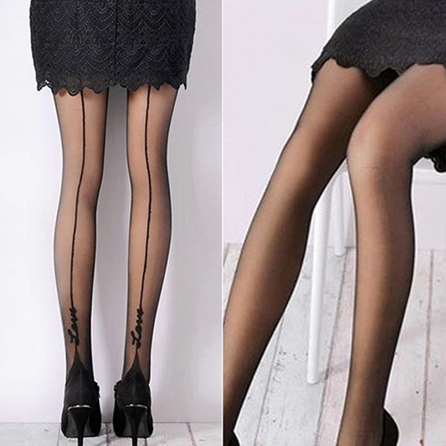 Women English Love Letter Tattoo Jacquard Tights Pantyhose Stockings