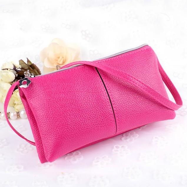 Women Leather Bifold Purse Zipper Clutch Handbag Wallet Shoulder Bag