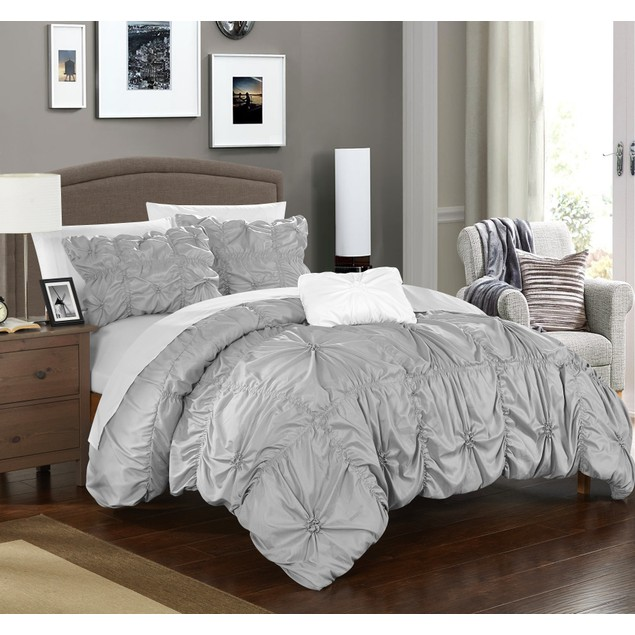 Chic Home 4 Pc. Armani Pinch Pleat Ruffled Embellished Duvet Cover Set