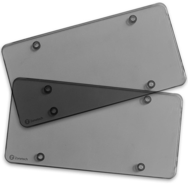 Zone Tech 2x Smoked Flat License Plate Cover Shield Tinted Plastic Tag
