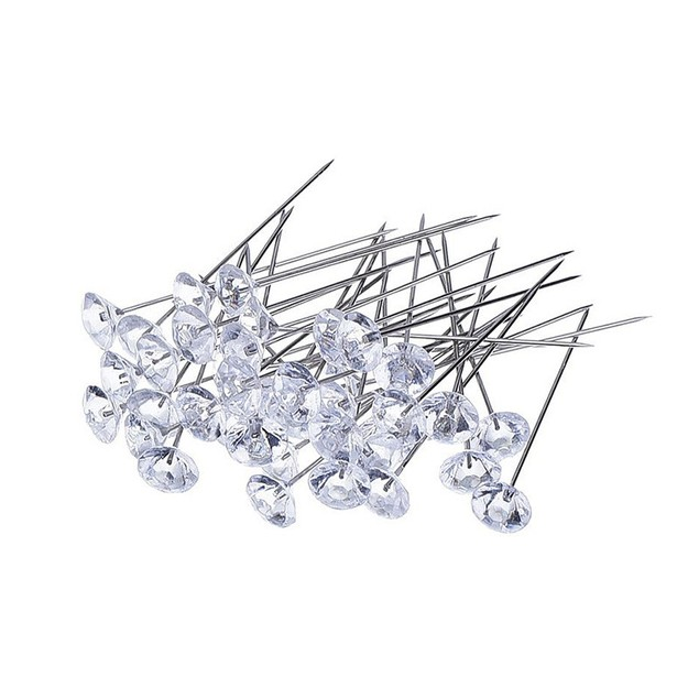 100Pcs Crystal Diamante Corsage Pins