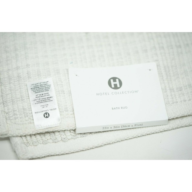 "Hotel Collection Fashion 22"" x 36"" Textured Flat-Weave Cotton Bath Rug,"