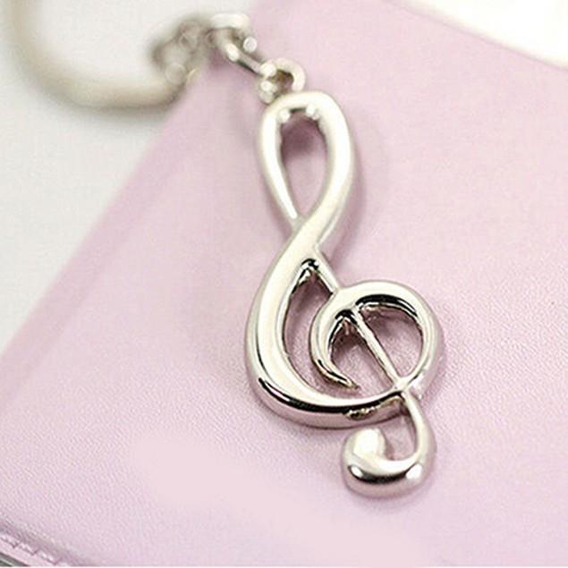 3D Silvery Music Notes Symbol Pendant Key Ring Keychain Keyfob Keyring