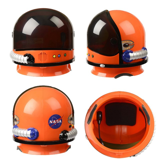 Orange NASA Child Astronaut Helmet with Sound Space USA Costume