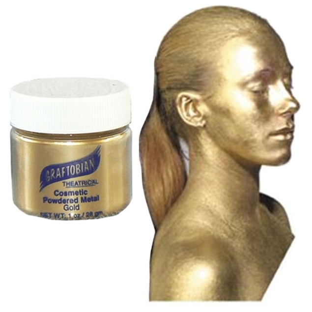 Gold Cosmetic Powdered Metals 1oz. Graftobian Cruelty Free USA Professional
