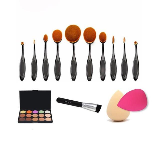 10PCS Makeup Brushes+Powder brush+Concealer Palette+Sponge Puffs