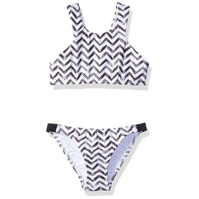 Seafolly Big Girls' Subtropical Tankini, Black/White, AUS SZ: 8