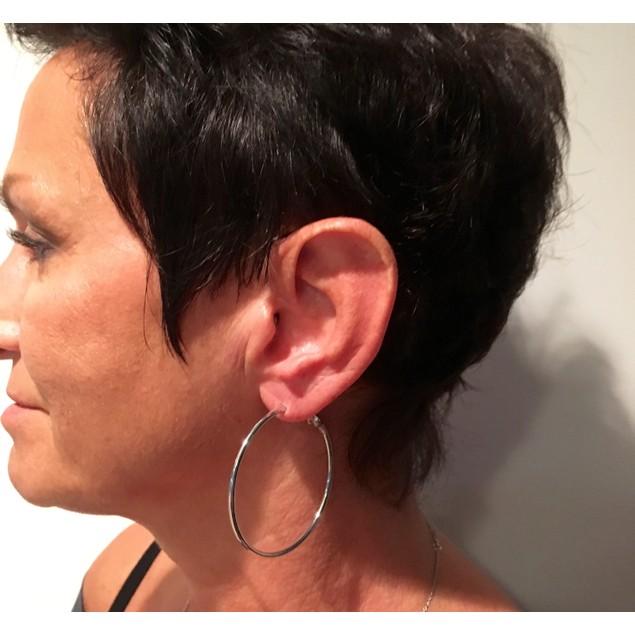 """eli k Womens 925 Sterling Silver Plate 2"""" Lever Back Hoops Earrings"""