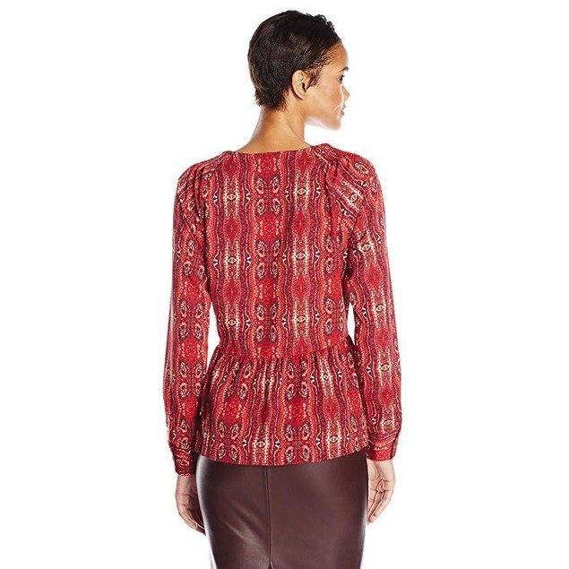 Sanctuary Clothing Women's Printed Boho Blouse, Scarf, X-Small
