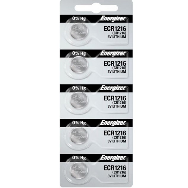 Energizer CR1216 3-Volt Lithium Coin Cell Batteries (5 Batteries)