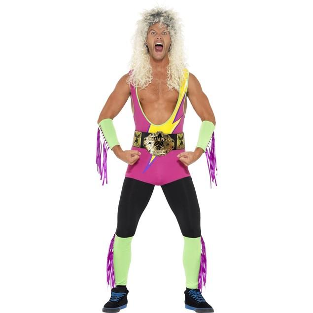Retro Wrestler Costume Ultimate Warrior WWF WWE Rockers 80's 90's Adult