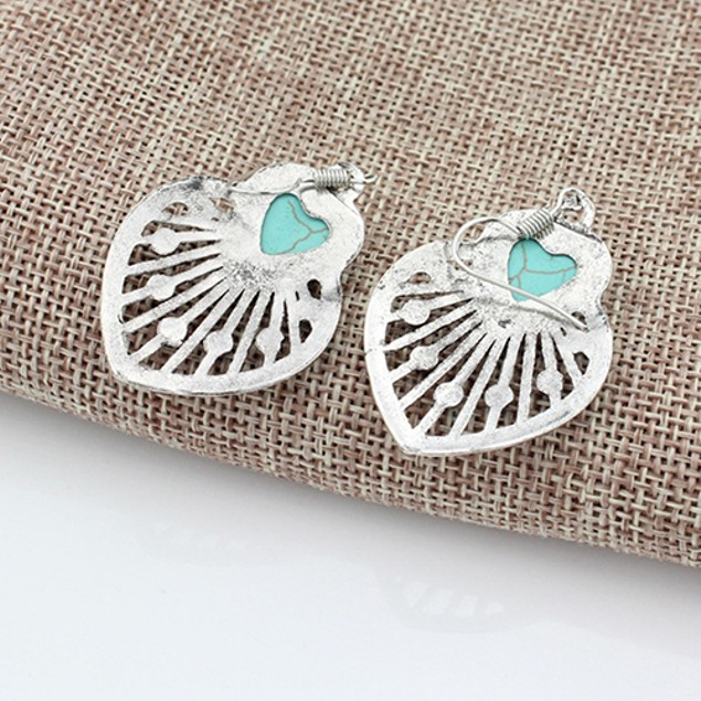 Women Bohemia Hollow Leaves Turquoise Dangle Hook Earrings