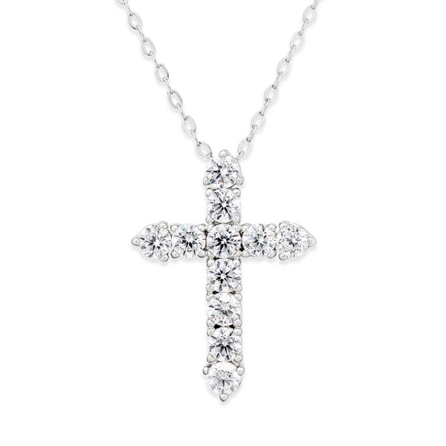 Novadab Cubic Zirconia Silver 925 Cross Sterling Silver Pendant Necklace