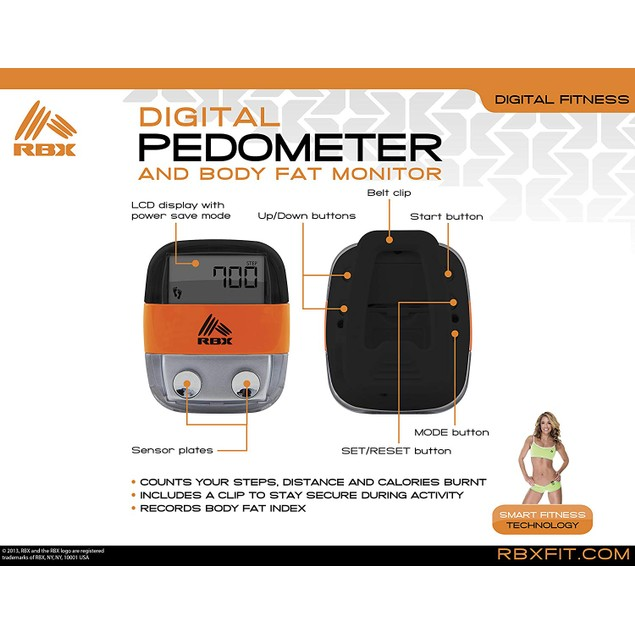 2-Pack - RBX Pedometer & Body Fat Monitor- Counts Steps, Calories, Distance