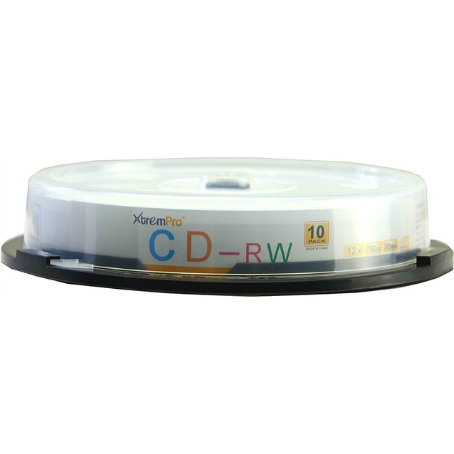 CD-RW 12X 700MB 80Min  CD 10 Pack Blank Discs in Spindle