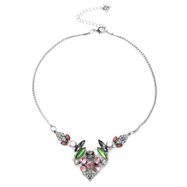 NOVADAB ART DECO GLOSS MULTICOLORED STATEMENT NECKLACE