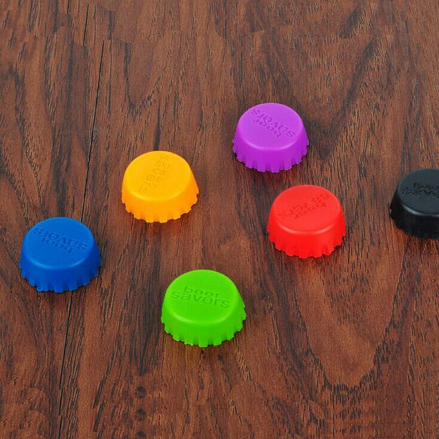 6 Pcs Kitchen Multicolor Silicone Button Beer Wine Plug Bottle Cap Cover
