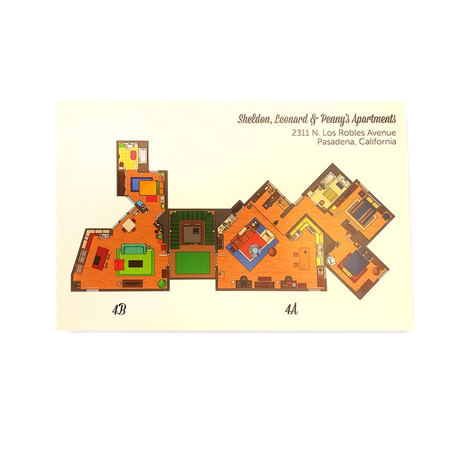 Sheldon, Leonard & Penny's Apartments Floor Plan Poster 11 x 17