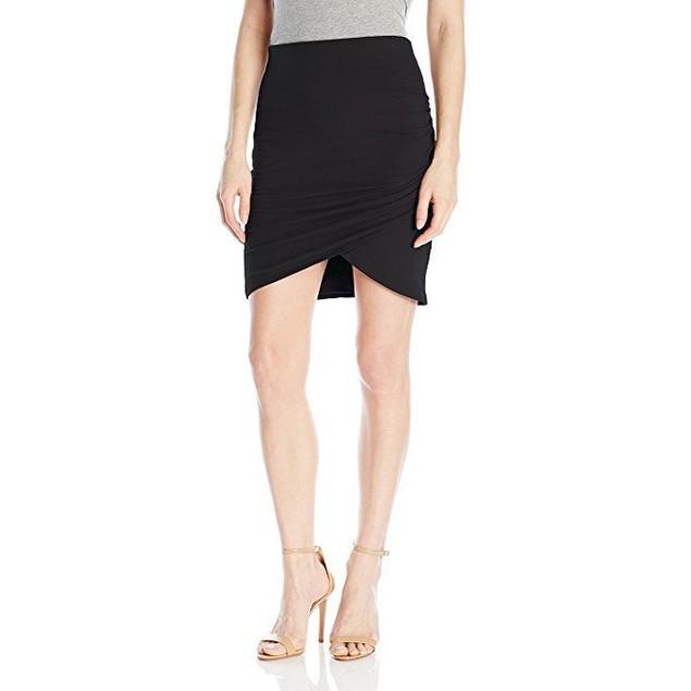 Michael Stars Women's Cotton Lycra Cross Front Mini Skirt, SZ Black