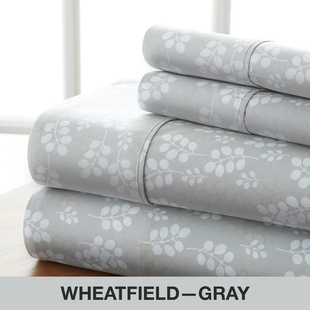 Becky Cameron Premium Ultra Soft Wheat Pattern 4 Piece Bed Sheet Set