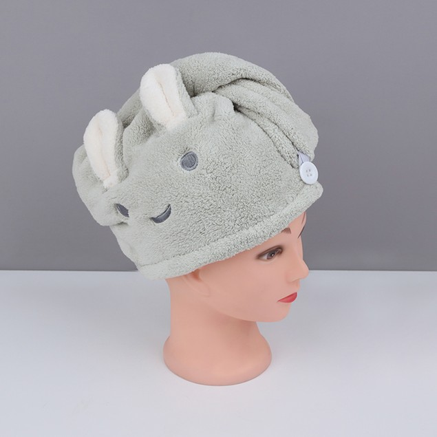 Rabbit Coral Fleece Quick Dry Hair Towel