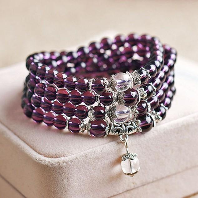6mm Crystal Stone Buddhist Amethyst Bracelet