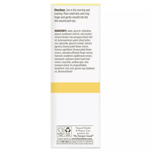 Burt's Bees Skin Nourishment 99% Natural Anti-aging Eye Cream, 0.5 Oz.